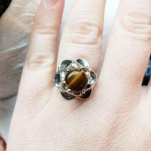 Vintage Sterling Silver Gaudi Tiger's Eye Ring